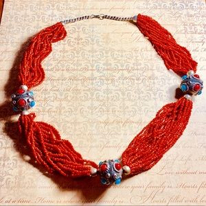 Jewelry - Tibetan Red Coral, Silver & Turquoise Necklace